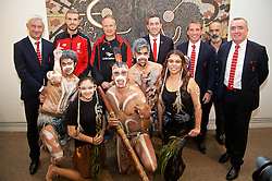 ADELAIDE, AUSTRALIA - Sunday, July 19, 2015: Liverpool's Ian Rush, captain Jordan Henderson, assistant manager Sean O'Driscoll, State Treasurer for South Australia Tom Koutsantonis, manager Brendan Rodgers, artist Jacob Stengle and Managing Director Ian Ayre with Aboriginal dancers during a visit to the Art Gallery of South Australia ahead of a preseason friendly match against Adelaide United on day seven of the club's preseason tour. (Pic by David Rawcliffe/Propaganda)