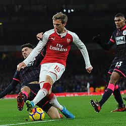 Nacho Monreal of Arsenal has his shot blocked during Arsenal vs Huddersfield, Premier League, 29.11.17 (c) Harriet Lander | SportPix.org.uk