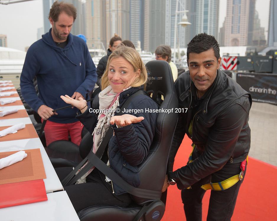 ANGELIQUE KERBER wird angeschnallt, DINNER IN THE SKY UAE<br /> <br /> Tennis - Dubai Tennis Championships 2017 -  WTA -  Dubai Duty Free Tennis Stadium - Dubai  -  - United Arab Emirates  - 20 February 2017.
