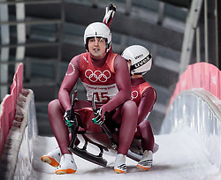 14.02.2018, Olympic Sliding Centre, Pyeongchang, KOR, PyeongChang 2018, Rodeln, Zweisitzer, Herren, im Bild Andrei Bogdanov und Andrei Medvedev (OAR) // Andrei Bogdanov and Andrei Medvedev of Olympic Athlete from Russia during the mens doubles luge of the Pyeongchang 2018 Winter Olympic Games at the Olympic Sliding Centre in Pyeongchang, South Korea on 2018/02/14. EXPA Pictures © 2018, PhotoCredit: EXPA/ Johann Groder