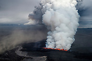 Volcanic eruption in Holuhraun, Iceland. Taken 1st of september 2014.
