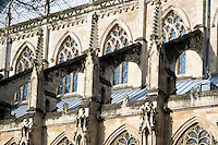 14th century flying buttress on the south side of Beverley Minster, Yorkshire UK