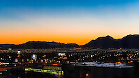 City lights at sunrise, Las Vegas, Nevada USA.