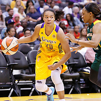 15 August 2014: Los Angeles Sparks guard Kristi Toliver (20) dribbles during the Los Angeles Sparks 77-65 victory over the Seattle Storm, at the Staples Center, Los Angeles, California, USA.