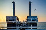Nederland, Zeeland, Gemeente Veere, 18-03-2016;  Oosterscheldekering (stormvloedkering Oosterschelde). Hydraulische cylinders voor het bewegen van de schuiven van de kering.<br /> Sluitgat Schaar.<br /> <br /> copyright foto/photo Siebe Swart