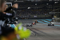 Rennen des Grand Prix von Abu Dhabi auf dem Yas Marina Circuit / 271116<br /> <br /> ***Abu Dhabi Formula One Grand Prix on November 27th, 2016 in Abu Dhabi, United Arab Emirates - Racing Day *** <br /> <br /> Race winner Lewis Hamilton (GBR) Mercedes AMG F1 W07 Hybrid crosses the finish line at the end of the race with second placed World Champion Nico Rosberg (GER) Mercedes AMG F1 W07 Hybrid.<br /> 27.11.2016. Formula 1 World Championship, Rd 21, Abu Dhabi Grand Prix, Yas Marina Circuit, Abu Dhabi, Race Day.<br /> - www.xpbimages.com, EMail: requests@xpbimages.com - copy of publication required for printed pictures. Every used picture is fee-liable. © Copyright: Moy / XPB Images