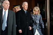 Vice President Joe Biden and Jill Biden leave the US Capitol during the inauguration, January 21, 2013 in Washington, D.C.