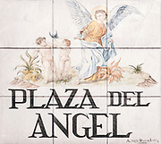 Plaza Del Angel. Ceramic street sign in Madrid, Spain