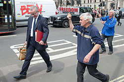 Secretary of State for Environment, Food and Rural Affairs, Michael Gove arrives on foot to the Houses of Parliament for Prime Ministers Questions closely followed by pro-Brexit and pro-remain protesters. <br /> <br /> Richard Hancox | EEm 22052019