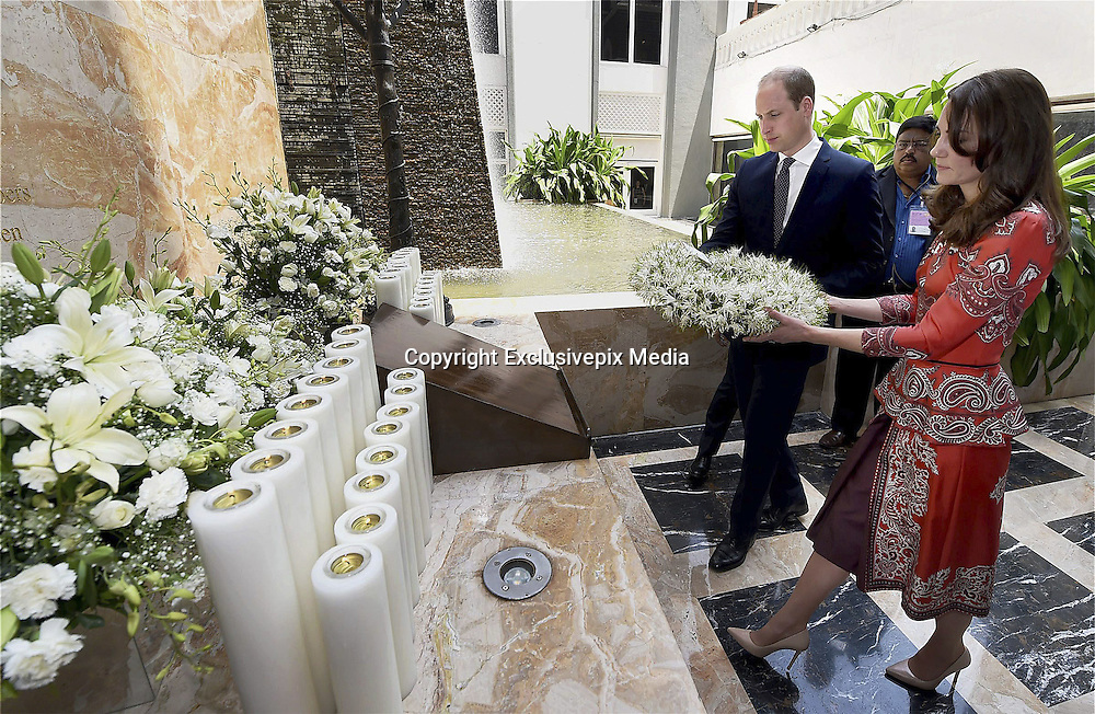 April 10, 2016 - Mumbai, INDIA - <br /> <br /> The Duke and Duchess of Cambridge, Prince William, and his wife, the former Kate Middleton lay a wreath on the martyrs memorial at the Taj Mahal Palace Hotel in Mumbai, India, Sunday, April 10, 2016. The royal couple began their weeklong visit to India and Bhutan, by laying a wreath at a memorial Sunday at Mumbai  iconic Taj Mahal Palace hotel, where 31 victims of the 2008 Mumbai terrorist attacks were killed.<br /> ©Exclusivepix Media