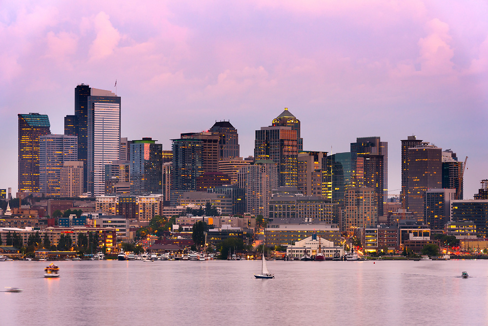 Lake Union and Downtown Seattle, Washington State, USA