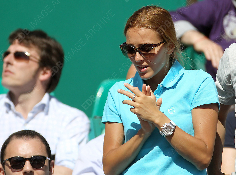21.ARPIL.2012. MONACO<br /> <br /> JELENA RISTIC WATCHES HER BOYFRIEND NOVAK DJOKOVIC PLAYING SEMI-FINAL AGAINST THOMAS BERDYCH AT MONTE-CARLO ROLEX MASTERS.  <br /> <br /> BYLINE: EDBIMAGEARCHIVE.CO.UK<br /> <br /> *THIS IMAGE IS STRICTLY FOR UK NEWSPAPERS AND MAGAZINES ONLY*<br /> *FOR WORLD WIDE SALES AND WEB USE PLEASE CONTACT EDBIMAGEARCHIVE - 0208 954 5968*