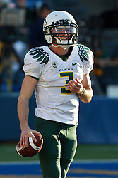 November 13, 2010; Berkeley, CA, USA; Oregon Ducks quarterback Bryan Bennett (3) warms up before the game against the California Golden Bears at Memorial Stadium.