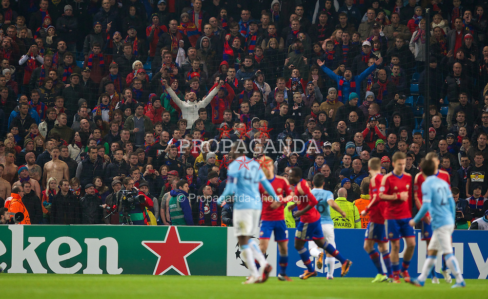 MANCHESTER, ENGLAND - Tuesday, November 5, 2013: CSKA Moscow supporters during the UEFA Champions League Group D match against Manchester City at the City of Manchester Stadium. (Pic by David Rawcliffe/Propaganda)