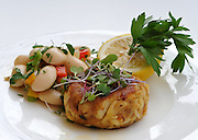 Crab cake served at Kyma in Roslyn, N.Y.