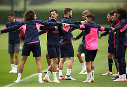 Arsenal's Mesut Ozil (second front left) during the training session at London Colney, Hertfordshire.