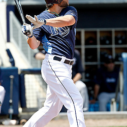 March 21, 2012; Port Charlotte, FL, USA; Tampa Bay Rays left fielder Luke Scott (30) at bat during the bottom of the third inning of a spring training game against the New York Yankees at Charlotte Sports Park.  Mandatory Credit: Derick E. Hingle-US PRESSWIRE