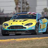 January 06, 2018 - Daytona Beach, Florida, USA:  The Automatic Racing Stoner Car/Invisible Glass/Rogue Engineering/Melbourne BMW Aston Martin Vantage races through the turns at the Roar Before The Rolex 24 at Daytona International Speedway in Daytona Beach, Florida.