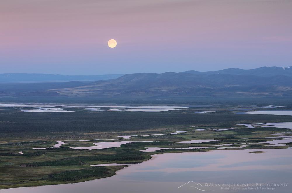 Full moon, Warner Lakes Wetlands, Oregon
