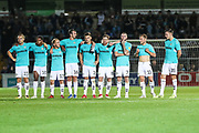 FGR players during the penalty shootout during the 2nd round of the Carabao EFL Cup match between Wycombe Wanderers and Forest Green Rovers at Adams Park, High Wycombe, England on 28 August 2018.