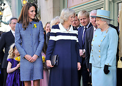LONDON,ENGLAND-1-MAR-2012-ROTA- Britain's Queen Elizabeth (R), Camilla, Duchess of Cornwall (2nd L) and Catherine, Duchess of Cambridge (L) await ahead of a plaque unveiling, as London Mayor Boris Johnson (2nd R) looks on outside of the Fortnum and Mason store in central London March 1, 2012. They had viewed the Diamond Jubilee product ranges, met staff and unveiled a plaque for the regeneration of Piccadilly. .Photographer Toby Melville, supplied by Ian Jones Photography.No UK Sales for 28 days until 1-4-12.