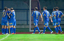 Players of Domzale celebrate  during the football match between NK Domzale and MIK CM Celje, played in the 10th Round of Prva liga football league 2010 - 2011, on September 22, 2010, Spors park, Domzale, Slovenia. Domzale defeated Celje 1 - 0. (Photo by Vid Ponikvar / Sportida)