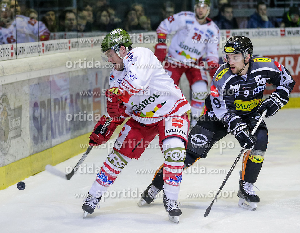 20.12.2015, Messestadion, Dornbirn, AUT, EBEL, Dornbirner Eishockey Club vs HCB Suedtirol, 33. Runde, im Bild Zweikampf zwischen Taylor Vause, (HCB Suedtirol, #19) und James Arniel, ((Dornbirner Eishockey Club, #09)// during the Erste Bank Icehockey League 33th round match between Dornbirner Eishockey Club and HCB Suedtirol at the Messestadion in Dornbirn, Austria on 2015/12/20, EXPA Pictures © 2015, PhotoCredit: EXPA/ Peter Rinderer
