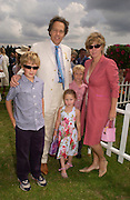 Earl and Countess of March and Kinrara with their children: Lady Eloise gordon-Lennox,  Lord charles Settrington and Lord William Gordon-Lennox.  Veuve Clicquot gold Cup, Polo at Cowdray, 18 July 2004. SUPPLIED FOR ONE-TIME USE ONLY> DO NOT ARCHIVE. © Copyright Photograph by Dafydd Jones 66 Stockwell Park Rd. London SW9 0DA Tel 020 7733 0108 www.dafjones.com
