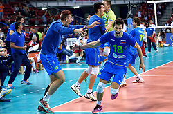Klemen Cebulj #18 during volleyball match between National teams of Poland and Slovenia in Quarterfinals of 2015 CEV Volleyball European Championship - Men, on October 14, 2015 in Arena Armeec, Sofia, Bulgaria. Photo by Ronald Hoogendoorn / Sportida