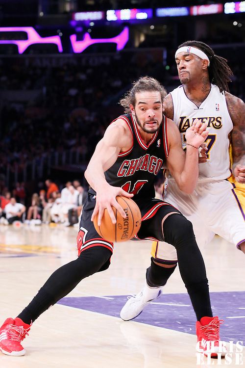 09 February 2014: Los Angeles Lakers power forward Jordan Hill (27) defends on Chicago Bulls center Joakim Noah (13) during the Chicago Bulls 92-86 victory over the Los Angeles Lakers at the Staples Center, Los Angeles, California, USA.