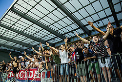 Torcida, fans of Hajduk celebrate after the First Leg football match between FC Luka Koper and HNK Hajduk Split (CRO) in Second qualifying round of UEFA Europa League, on July 16, 2015 in Stadium Bonifika, Koper, Slovenia. Photo by Vid Ponikvar / Sportida