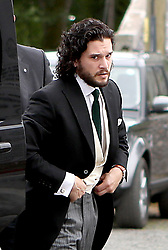 Groom Game of Thrones star Kit Harington, who plays Jon Snow, arriving at Rayne Church in the village of Kirkton of Rayne, Aberdeenshire, for his wedding ceremony with his co-star Rose Leslie, who played Ygritte in the drama.