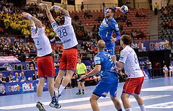 Borut Mackovsek of Celje PL during handball match between Meshkov Brest and RK Celje Pivovarna Lasko in bronze medal match of SEHA- Gazprom League Final 4, on April 15, 2018 in Skopje, Macedonia. Photo by  Sportida