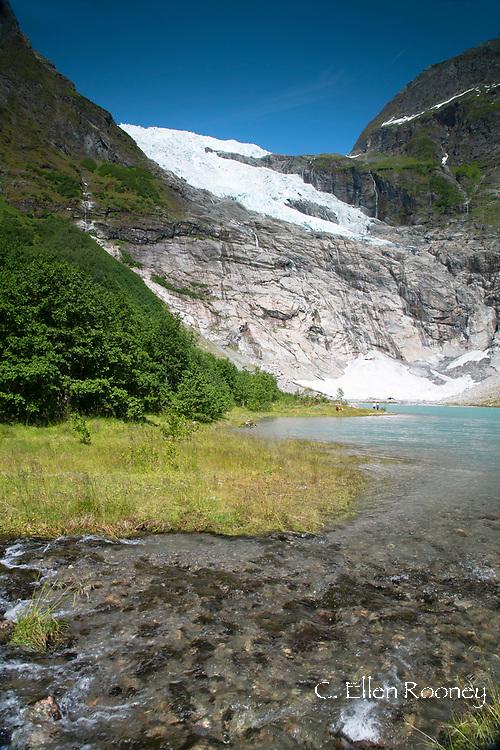 The Jostedalsbreen Glacier and glacial lake in Boyabreen, Vestlandet, Norway