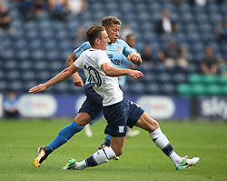 Dwight Gayle of Newcastle United and Ben Davies of Preston North End (L) - Mandatory by-line: Jack Phillips/JMP - 22/07/2017 - FOOTBALL - Deepdale - Preston, England - Preston North End v Newcastle United - Pre-Season Club Friendly