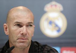 December 8, 2017 - Madrid, Spain - Head coach Zinedine Zidane of Real Madrid attends a press conference at Valdebebas training ground on December 8, 2017 in Madrid, Spain. (Credit Image: © Raddad Jebarah/NurPhoto via ZUMA Press)