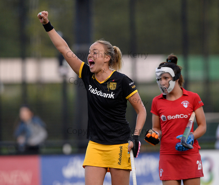 Den Bosch's Maartje Paumen celebrates at a penalty coner goal against Monkstown during their opening game of the EHCC 2017 at Den Bosch HC, The Netherlands, 2nd June 2017