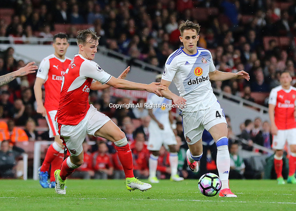 May 16th 2017, Emirates Stadium, Highbury, London, England;  EPL Premier League football, Arsenal FC versus Sunderland; Adnan Januzaj of Sunderland feels pressure from Rob Holding of Arsenal, during a Sunderland attack