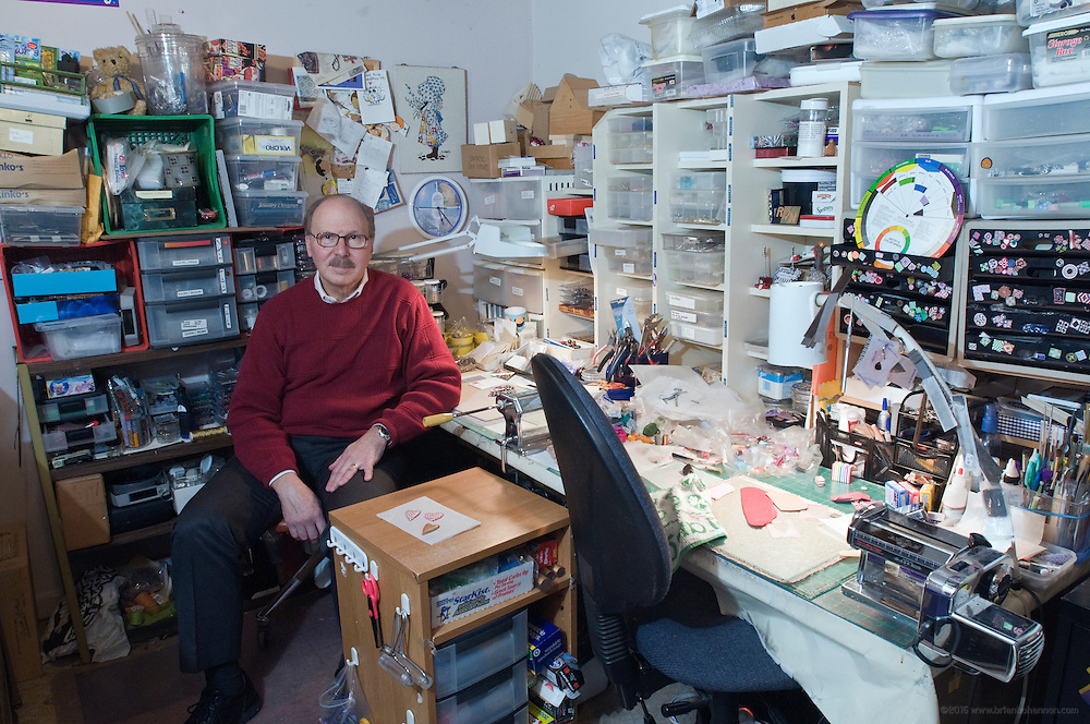 Pediatrician and polymer clay artist Dr. Ron Lehocky in his home studio where he makes heart pins that are sold to benefit the Kentuckiana Institute of Developmental Services (K.I.D.S. Center), photographed Tuesday, Jan. 13, 2009 in Louisville, Ky., for The Highlander. (Photo by Brian Bohannon/www.brianbohannon.com)