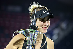 DUBAI-, Feb. 24, 2019  Belinda Bencic of Switzerland poses with the trophy after winning the women's singles final match between Belinda Bencic of Switzerland and Petra Kvitova of the Czech Republic at Dubai Duty Free Tennis WTA Championships 2019 in Dubai, the United Arab Emirates, Feb. 23, 2019. Belinda Bencic won 2-1 and claimed the title. (Credit Image: © Xinhua via ZUMA Wire)