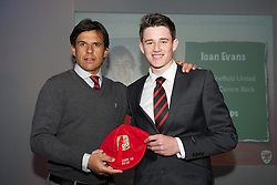 CARDIFF, WALES - Saturday, May 11, 2013: Ioan Evans is presented with his U16's cap by Wales national team manager Chris Coleman at the FAW Trust Under-16's cap presentation. (Pic by David Rawcliffe/Propaganda)