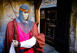 Entrance to the Musee de L'inquisition in the medieval  Cit&eacute; de Carcassonne, France<br /> <br /> (c) Andrew Wilson   Edinburgh Elite media