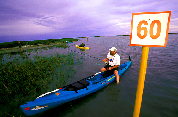 Kayak fishing at Lighthouse Lakes Texas Parks & Wildlife Coastal Paddling Trail.