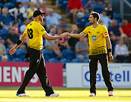 Gloucestershire's Andrew Tye celebrates the wicket of Glamorgan's Chris Cooke<br /> <br /> Photographer Simon King/Replay Images<br /> <br /> Vitality Blast T20 - Round 8 - Glamorgan v Gloucestershire - Friday 3rd August 2018 - Sophia Gardens - Cardiff<br /> <br /> World Copyright © Replay Images . All rights reserved. info@replayimages.co.uk - http://replayimages.co.uk