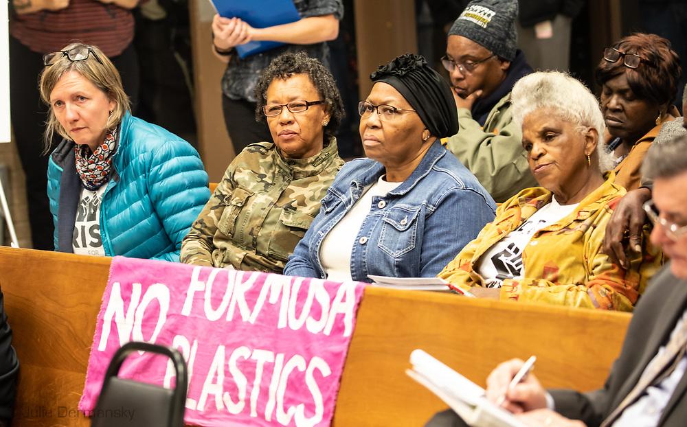 Gail  LeBoeuf next to Myrtle Felton, and Barbara Washington at a St. James Parish Council Meeting on Jan 21.2020.