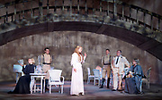 Three Sisters <br /> by Anton Chekhov<br /> Sovremennik Theatre <br /> at Piccadilly Theatre, London, Great Britain <br /> Press photocall / rehearsal <br /> 11th May 2017 <br /> <br /> Olga Drozdova as Olga <br /> <br /> Alyona Babenko as Masha <br /> <br /> Victoria Romanenko as Irina  - centre white dress <br /> <br /> Anatoly Uzdensky as Ivan Romanovich Chebutykin <br /> <br /> Shamil Khamatov and Ilya Drevnov as Soldiers <br /> <br /> <br /> Photograph by Elliott Franks <br /> Image licensed to Elliott Franks Photography Services