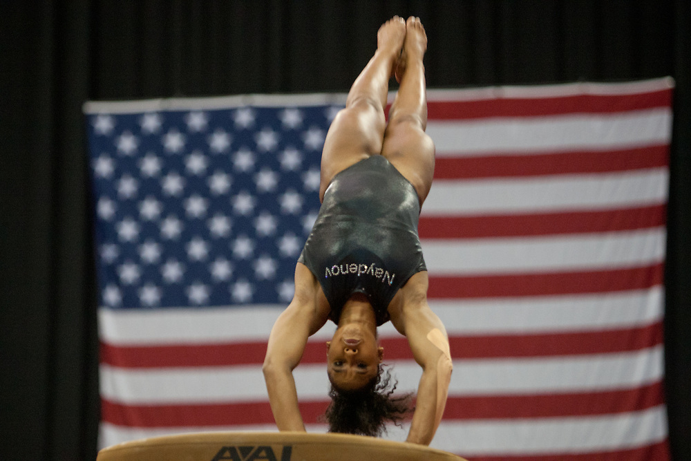 USA Gymnastics GK Classic - Schottenstein Center, Columbus, OH - July 28th, 2018. Jordan Chiles  competes on the vault at the Schottenstein Center in Columbus, OH; in the USA Gymnastics GK Classic in the senior division. - Photo by Wally Nell/ZUMA Press