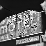 Kern Motel Sign Northbound View - McFarland, CA - Highway 99 - HDR - Lensbaby - Infrared Black & White