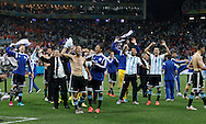 The players of Argentina celebrate victory during the 2014 FIFA World Cup match at Arena Corinthians, Sao Paulo<br /> Picture by Andrew Tobin/Focus Images Ltd +44 7710 761829<br /> 09/07/2014