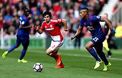 Luis Antonio Valencia of Manchester United takes on Fabio of Middlesbrough - Mandatory by-line: Robbie Stephenson/JMP - 19/03/2017 - FOOTBALL - Riverside Stadium - Middlesbrough, England - Middlesbrough v Manchester United - Premier League